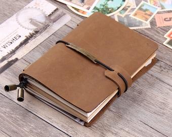 Handmade Leather Traveler's Notebook - Travel Diary sketchbook - Refillable Journal Notebook - Passport Notebook