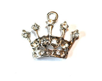 4pc Silver Crown Charm/ Rhinestone Charm / Necklace Charm / Bracelet Charm / Rhinestone Charms
