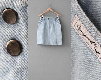 Vintage 90s denim mini skirt, Light jean skirt, 80s mini skirt, Washed Jeans skirt, Blue jeans skirt, High waist Mini skirt / Small Medium
