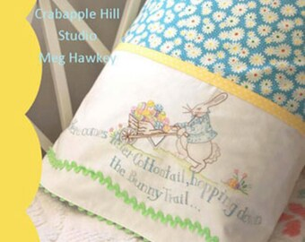 Crabapple Hill Here Comes Peter Cottontail Easter Pillowcase Pattern and Cosmo Floss Kit CH 271