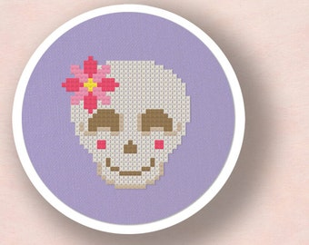 Smiling Skull with Flower Cross Stitch Pattern. Modern Simple Cute Counted Cross Stitch PDF Pattern. Instant Download