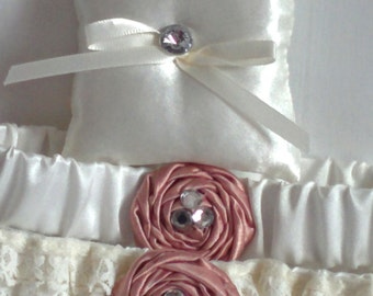 "Crystal and Ivory Ring Bearer Pillow, small simple bridal pillow, crystal button ivory ribbon -- approx. 3"" square"