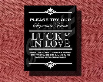 Custom Designed Wedding Signature Drink Sign