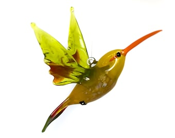 Hanging loop ornament Hummingbird Figurine Colibri glass bird collectible miniature sculpture composition glass garden bird ornament
