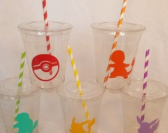 16 oz. Pokemon Party Cups, Pikachu Birthday, Pokemon Go Party, Anime Favor Cups, Cartoon Themed Cups, Eevee Theme Favors, Pokeball Cups
