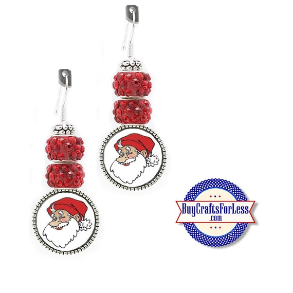 CHRiSTMAS Red Santa EARRiNGS, Glass Cabochon, Sparkle Beads, FREE Gift BoX!!  +FREE SHiPPiNG & Discounts*