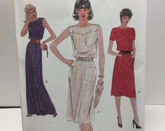 1980s Dress, Vogue 7719 Evening Out Dress Sewing Pattern Misses 14,Pocket Dress, Short sleeve Dress, Long Dress, Mid Calf Dress, Belted
