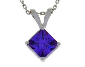 1 Ct Amethyst Princess Cut Pendant .925 Sterling Silver Rhodium Finish
