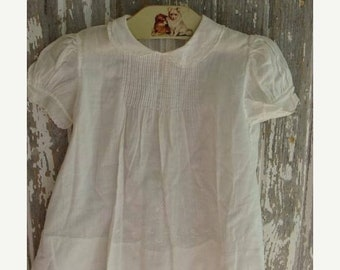 ONSALE Antique Handmade Embroidered White Cotton Baby Doll Dress N068