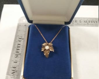 "Vintage  18"" gold filled necklace with leaf charm lot aabp"