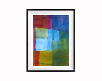 Expressionist, Geometric Modern Art, Original, Squares, Shapes, Abstract painting, Bright, bold, Sale, colors, LaBerge 22 x 16