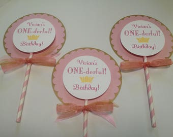 Princess Centerpiece, Princess ONEderful 1st Birthday , pink and Gold Princess Centerpiece , set of 3