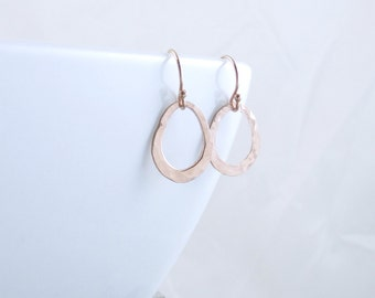 Rose Gold Open Circle Earrings Teardrop Earrings Organic Circle Earrings Unique Gifts Rose Gold Minimalist Jewelry Christmas Gift For Her