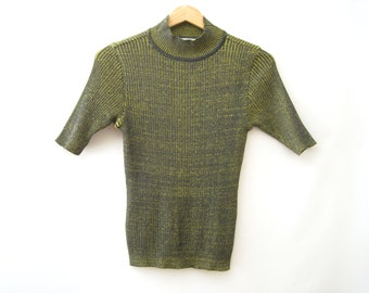 90s Ribbed Turtleneck Top Navy/Lime Green Short Sleeve Knit Sweater Vaporwave Grunge Club Kid Cyberwave Pastel Goth Rave // S-M