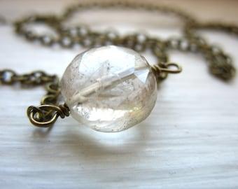 Rutilated Quartz Necklace, Rutilated Quartz Crystal Gemstone Chain Necklace, Handmade Birthstone Necklace, Quartz Necklace, Quartz Jewelry
