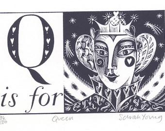 Q is for Queen- Alphabet Silkscreen Print