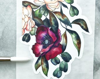 STICKER of Burgundy POPPY and ROSES 3x2 Inches  // Art Watercolor Garden Leaves Indoor Plant Paynes Gray Flora