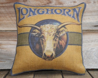 Longhorn Pillow Cover, Burlap Throw Pillow, Country Living, 16x16
