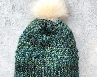 Handmade Adult Heavy Weight Double Brim Beanie | PomPom knit hat | Winter Toque