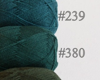 Wool yarn set for knitting, crochet / 100% natural wool yarn - green wool yarn set of 4 balls