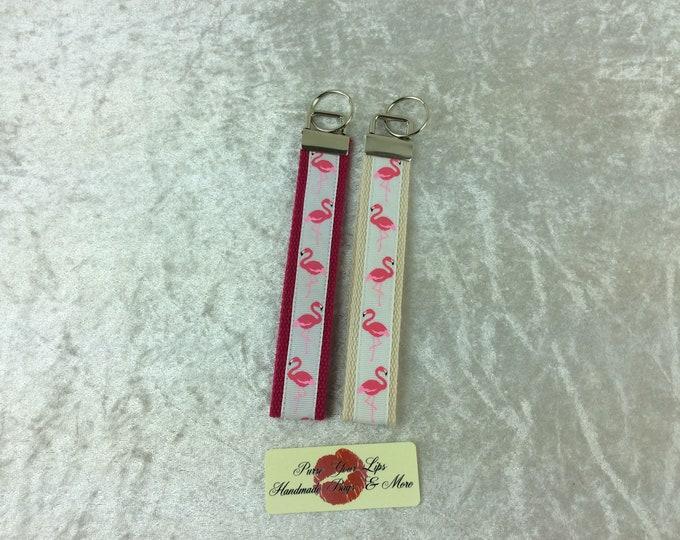Flamingos Key Fob Wristlet Key Ring Chain Wrist Strap Lanyard Wedding Favours Birds