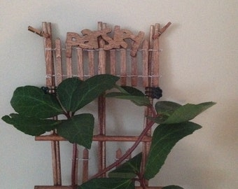 """Houseplant Trellis for Herb Garden Support- With """"Parsley"""" Sign"""