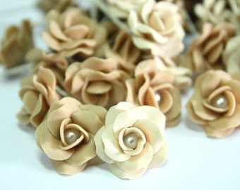 Miniature Roses Polymer Clay Flowers Supplies for Beaded Jewelry 12 pcs.