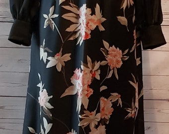 Vintage 1970's 70's glower garden maxi dress black chiffon with pink flowers long sheer sleeves UK size 12 - 14