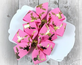 Set of 2 Deer Bows ~ Mini Set Of 2 Bows ~ 3 inch Bows ~ Pigtail Bows ~ Toddler Hair Bows ~ Infant Hair Bows ~