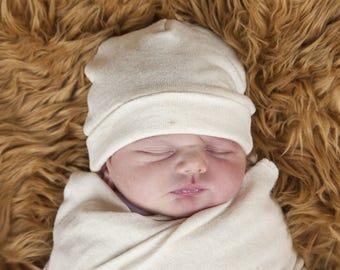 Baby  Hat - Natural Color Organic Cotton Hemp Jersey -  Eco Friendly  - Newborn - Baby Shower