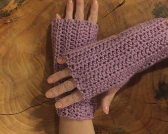 LOVELY LAVENDER GLOVES Crocheted Arm Warmers Fingerless Texting Gloves Handmade