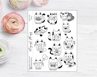 Cute Cats Decorative Stickers - Planner Stickers - Animal Stickers - Cat Stickers - Matte Animal Planner Stickers