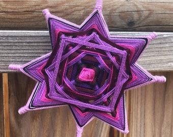 Lilac Magenta Pink Star Mandala Godseye Handmade Decor- 5 inch, 8 sided Ojo de Dios - Good luck charm