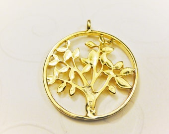 Vermeil, 18k gold over 925 sterling silver tree of life charm,tree of life charm , tree of life, shiny gold tree of life,family tree