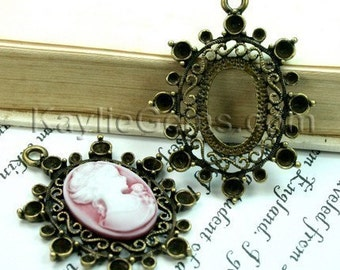 3 pcs Antique Brass Victorian Style Filigree Decorative Rhinestone Cameo Cabochon Frame, Setting, Pendants -FRM-3313AB