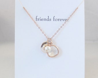 Friends Forever,Friendship Necklace,Rose Gold,Rose Gold Friends,Wedding,Bridal Party,Bridesmaid Gift,April,Rose Gold Diamond,Initial