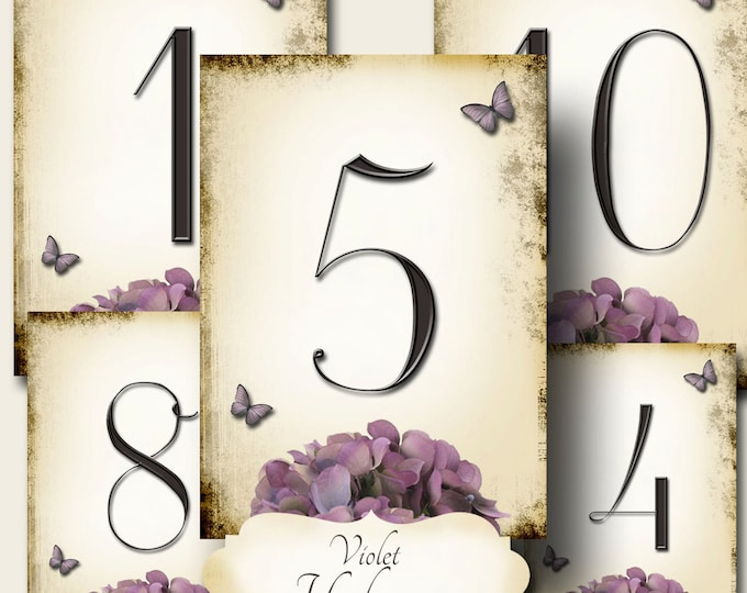 VIOLET HYDRANGEA, Wedding Table Number, 5x7, Printable, Weddings, Parties, Bridal Shower, Baby Shower, Seating Numbers, wedding decoration