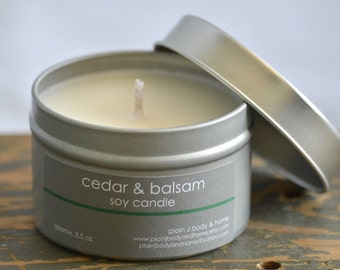 Cedar & Balsam Soy Candle Tin 4 oz. - cedar candle - balsam candle - cedar balsam candle - fall candle - holiday candle - wood scent candle