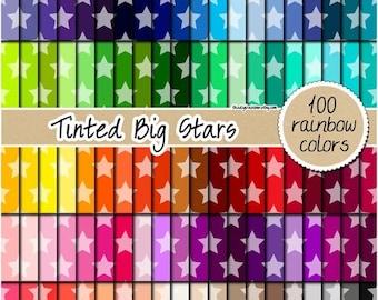 SALE 100 tinted big star digital paper rainbow star clipart digital scrapbooking kit star pattern xmas printable 12x12 pastel neutral bright