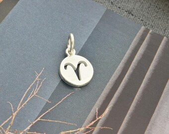 sterling silver zodiac Aries coin disc round charm pendant  YZ01