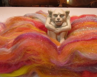 SUNSET, 4.0 oz, spinning fiber, fiber art batt, textured batt, bling batt, Angelina, felting fiber, fiber batt, art batt