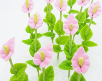 Miniature Polymer Clay Flowers for Dollhouse, Calla Lily, 24 stems with leaves