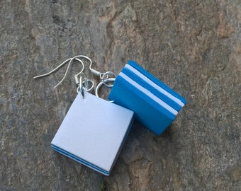 White and blue rubber earrings