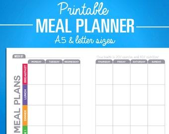 printable meal planning calendar tracker digital pdf download weekly nutrition diet tracker