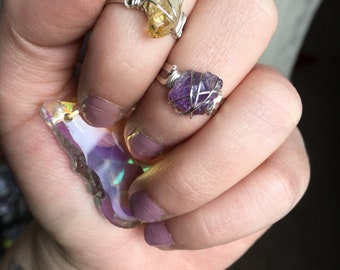 Citrine or amethyst wore wrapped Midi Ring