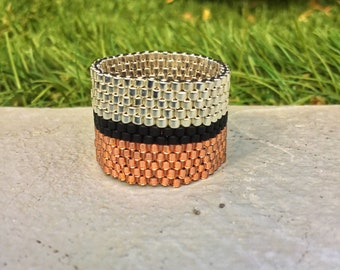 Mother's day, gift for mom, Stripes seed bead ring, Copper Black Silver Peyote ring, Classy beadwoven ring, Modern wide band, Gifts for her