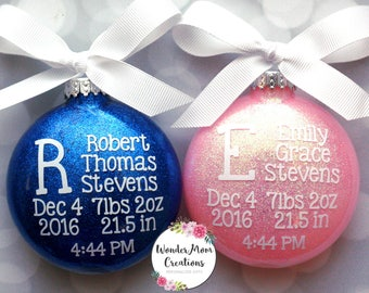 Twin Baby Birth Statistic Ornament; Boy Girl Twin Birth Stats Christmas Ornament; Twin / Triplet Monogram Personalized Christmas Ornament