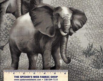 "Robert Kaufman Realistic African Elephants on Gray - Novelty - Jungle Animal - 100% Cotton Quilt Shop Quality - 34""x44|"