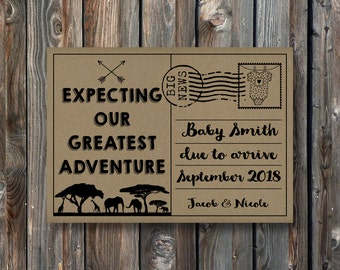 PRINTABLE Pregnancy Announcement Card–Baby Reveal Card–Pregnancy Reveal Card-Expecting Our Greatest Adventure Card-Baby Announcement-PA23