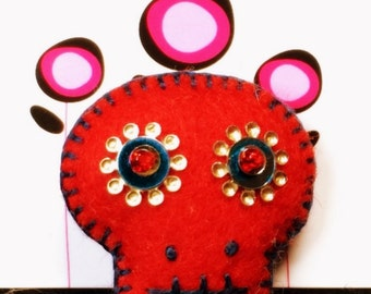 Sugar Skull Wool Felt Pin